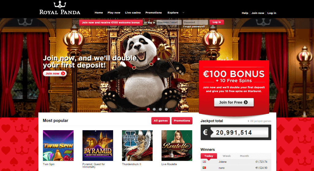 Royal Panda Live Casino Homepage