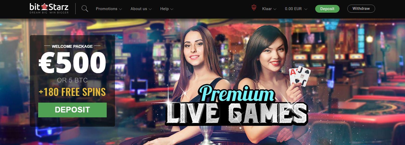 Bitstarz Live Casino Home page