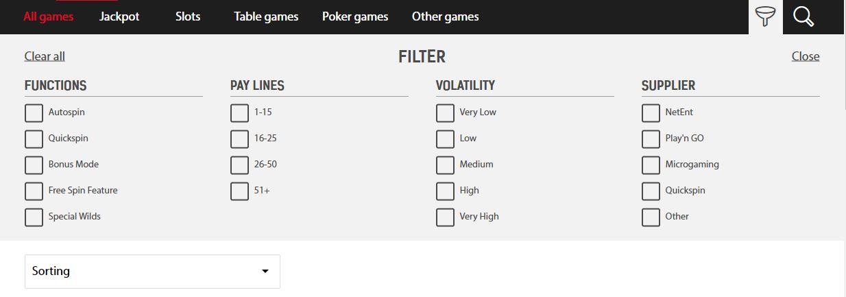 Redbet Filter Option